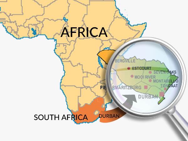 Map of Kwa-Zulu Natal, South Africa