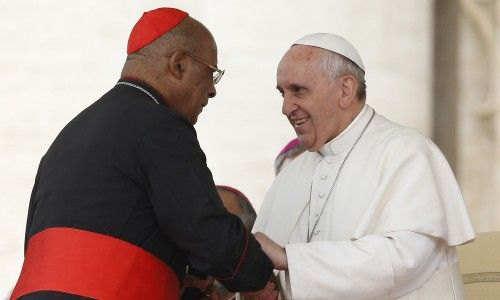 Cardinal Wilfrid Napier with Pope Francis