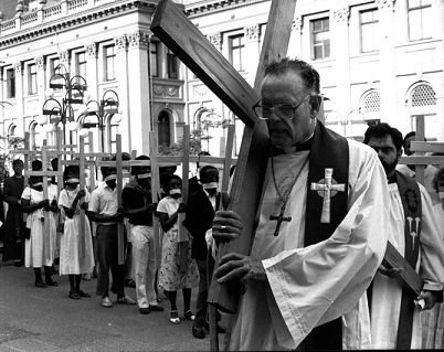 Archbishop Denis Hurley leads Easter procession through the streets of Durban